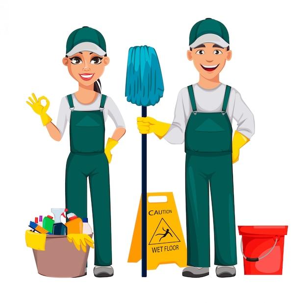 Homme et femme de ménage
