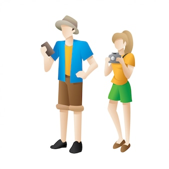 Homme et femme mignonne voyageur de dessin animé