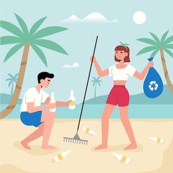 Homme, femme, nettoyage, plage, ensemble