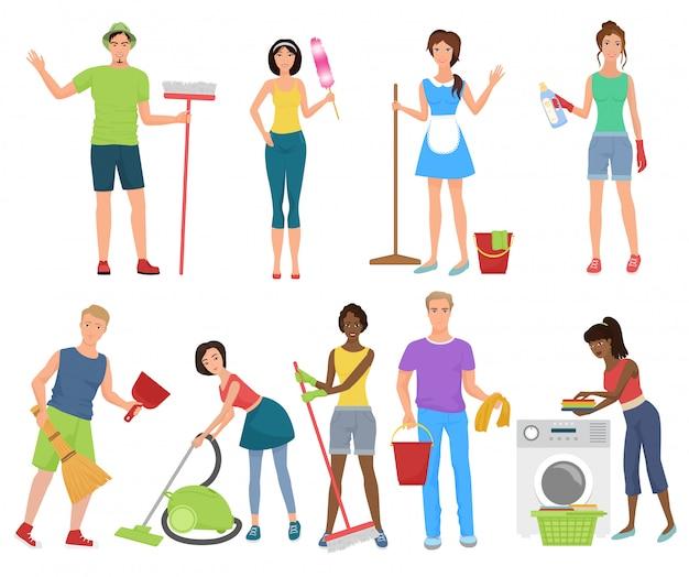 Homme et femme de nettoyage