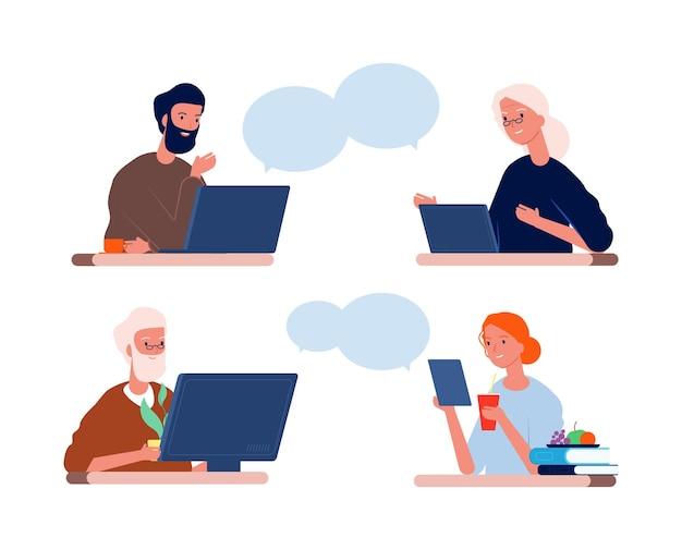 L'homme et la femme parlent avec la vieille mère et le père.