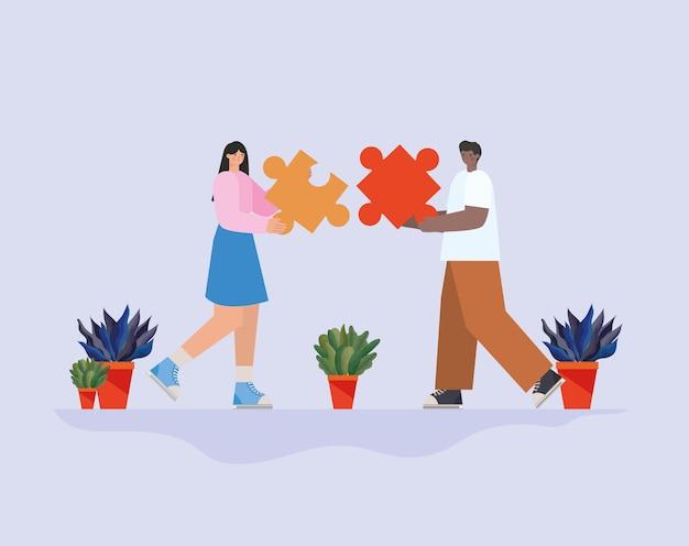 Homme et femme avec une pièce de puzzle chacun et illustration de plantes