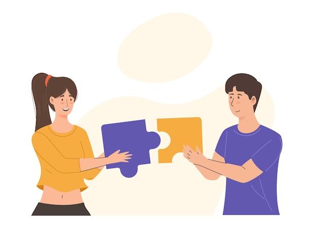 Homme et femme avec des pièces de puzzle essayant de trouver une solution ensemble concept de travail d'équipe et de collaboration