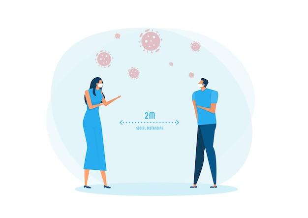 Homme et femme portant un masque médical et distance sociale