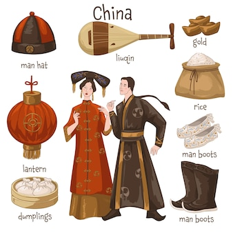 Homme et femme portant des vêtements traditionnels chinois. meubles et effets personnels. du riz et des boulettes, un chapeau et des chaussures, des bottes et de l'or. instrument de musique à cordes liuqin. vecteur dans un style plat