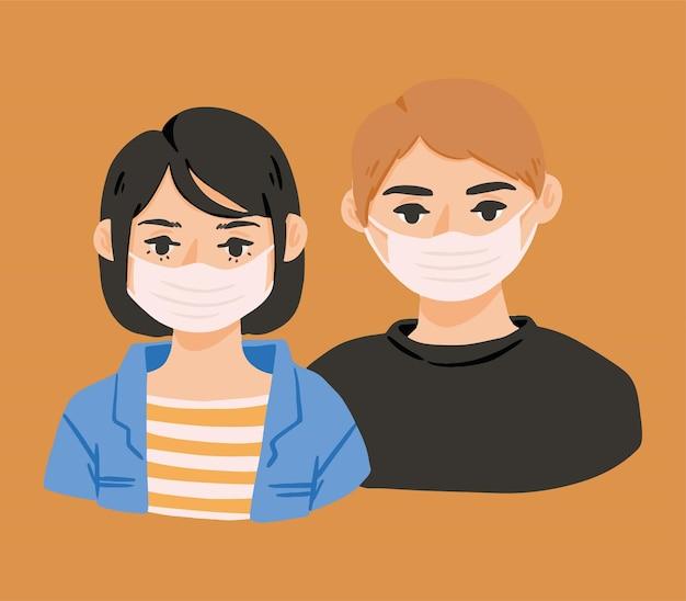 Homme et femme portent des masques illustration mignonne dessinés à la main