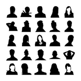 Homme et femme pose des pictogrammes