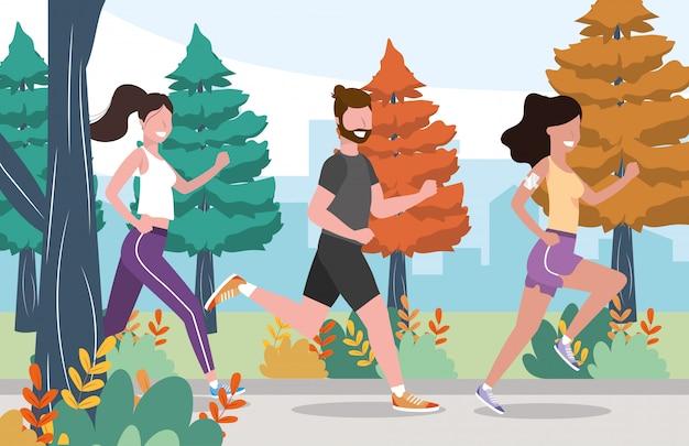Homme et femme pratiquant des exercices et des activités de course à pied
