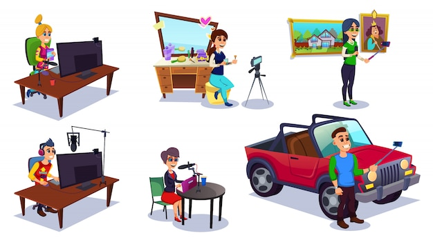 Homme et femme prenant des photos ou réalisant des vidéos.