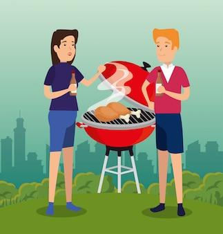 Homme et femme préparant un barbecue