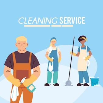 Homme et femme avec des produits pour le service de nettoyage desing illustation