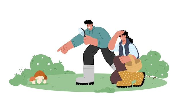 L'homme et la femme à la recherche de champignons cueillir à l'automne dans la forêt