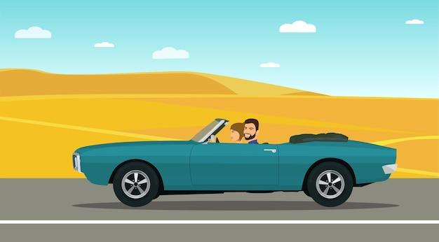 Un homme et une femme roulent dans une voiture décapotable classique le long de la route du désert. illustration vectorielle.