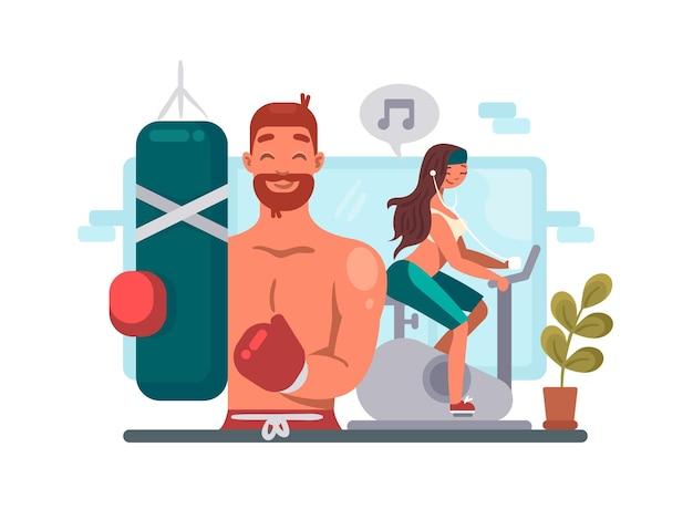 Homme et femme s'entraînant dans une salle de sport. guy boxe, fille à vélo. illustration vectorielle