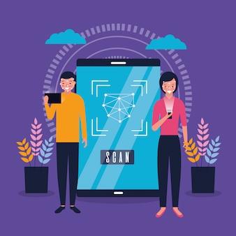 Homme et femme avec scan du visage mobile