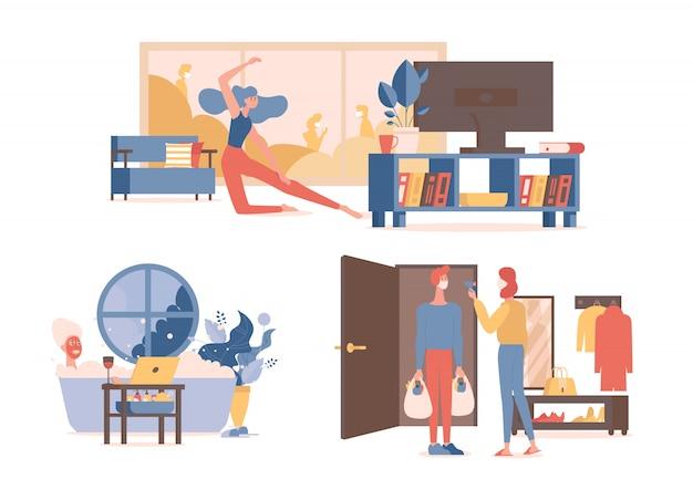 L'homme et la femme se détendent dans un bain, dansent, font du sport dans le salon et mesurent la température après le shopping.