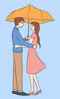 Homme et femme sous l'illustration de parapluie dessinés à la main