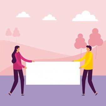 Homme et femme tenant des bannières