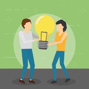 Homme et femme tenant la créativité de l'ampoule, style plat