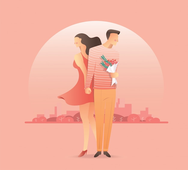 Homme, femme, tenant mains