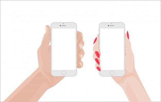 Homme et femme tenant un smartphone blanc
