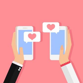 Homme, femme, tenue, smartphones