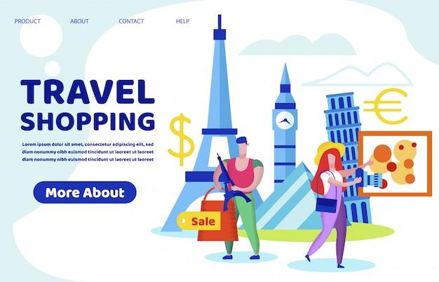 Homme et femme touristes shopping dans un pays étranger
