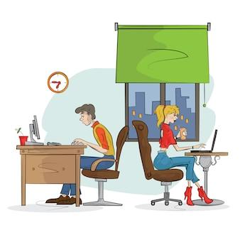L'homme et la femme travaillent sur l'ordinateur. illustration