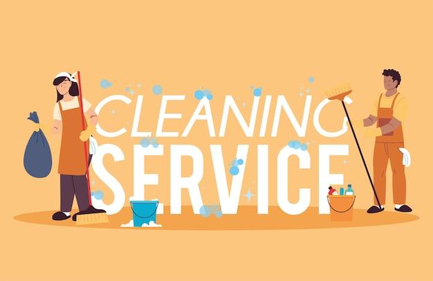 Homme et femme avec uniforme pour service de nettoyage desing illustartion