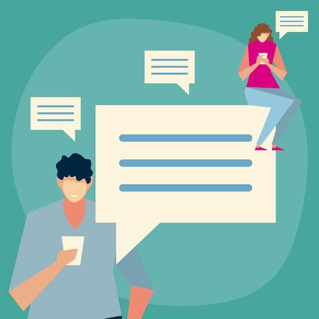 Homme et femme utilisant un smartphone envoi de message, sms, illustration de personnes et de gadgets