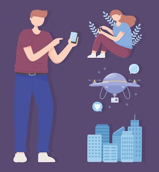 Homme et femme avec ville intelligente de drone mobile, illustration de la technologie sans fil du réseau 5g
