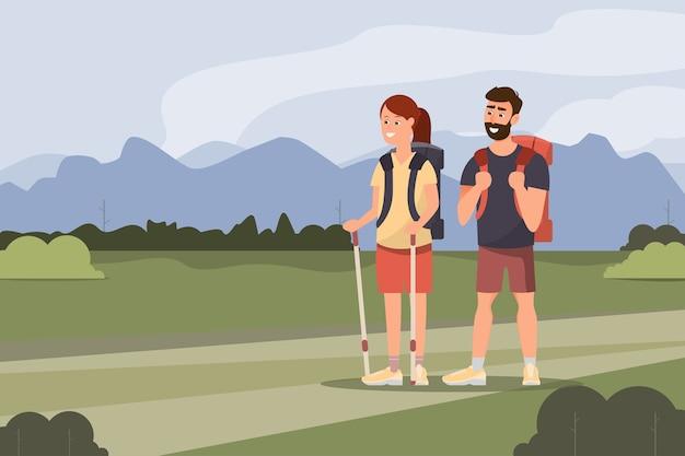 L'homme et la femme vont au trekking avec des sacs à dos dans l'illustration de dessin animé de forêt de montagnes