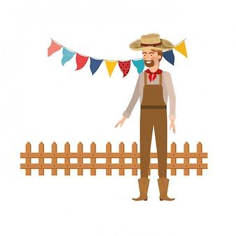 Homme fermier avec chapeau de paille