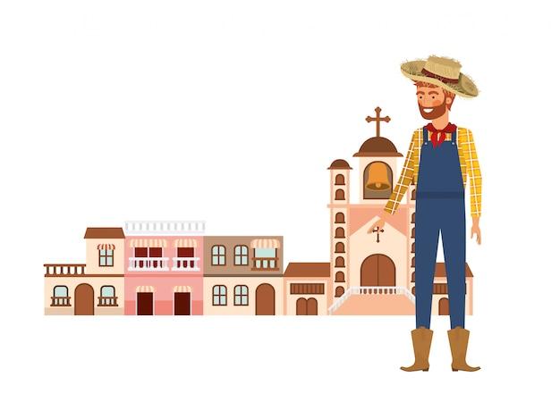 Homme fermier avec maisons de quartier