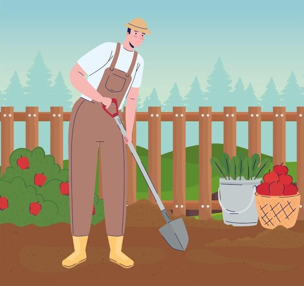 Homme fermier avec pelle dans l'illustration de la ferme