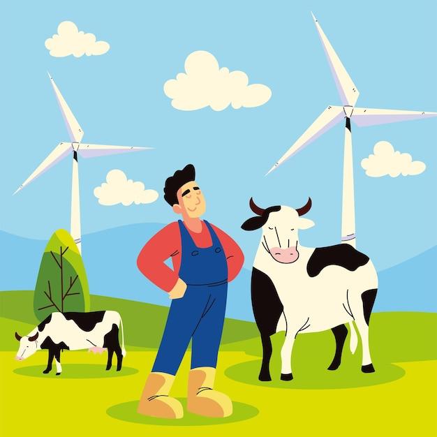 Homme fermier et vaches