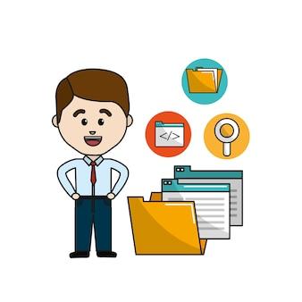 Homme avec fichier de dossier numérique et icônes de documets