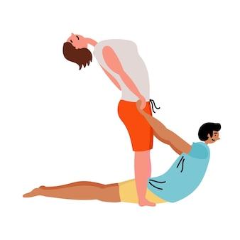 Homme fille faire du yoga