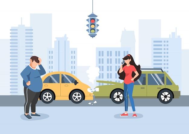 Un homme et une fille ont eu un accident de la circulation