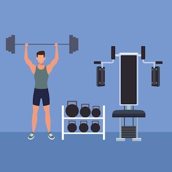 Homme fitness faisant de l'exercice