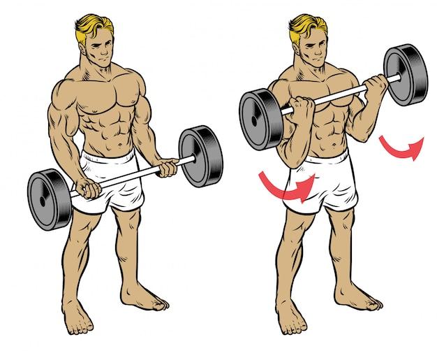Homme fitness séance d'entraînement barbell curl pour former le muscle biceps