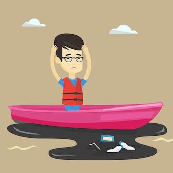 Homme flottant dans un bateau dans l'eau polluée.