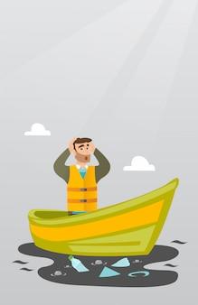 Homme flottant dans un bateau dans une eau polluée.