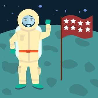 L'homme sur le fond de la lune