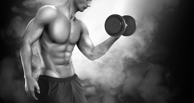 Homme fort, faire des exercices de musculation dans les tons de gris et effet de brouillard, illustration 3d