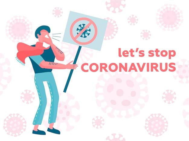 Homme avec foulard tenant pancarte rejette le virus. concept de prévention des maladies. nouvelle maladie à virus corona