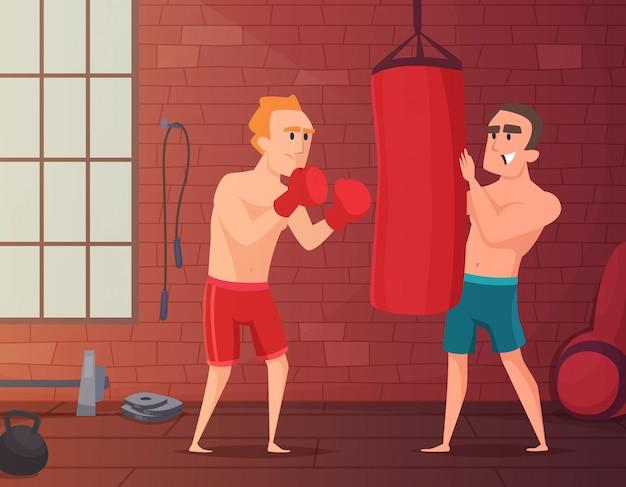 Homme frappe au sac de boxe à la gym.