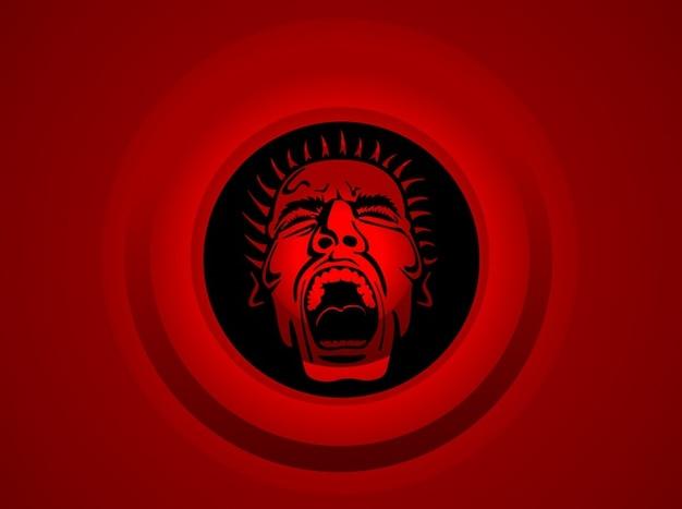 Homme furieux sur fond rouge