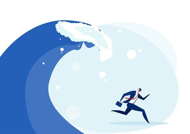 Homme fuyant la vague de travail dur qui le poursuit concept, illustration en dessin animé plat