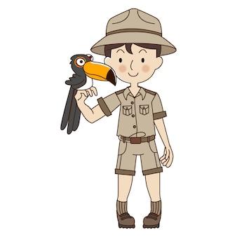 Homme gardien de zoo